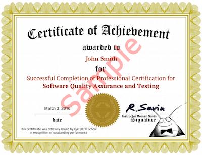 Software Testing QA Certificate.