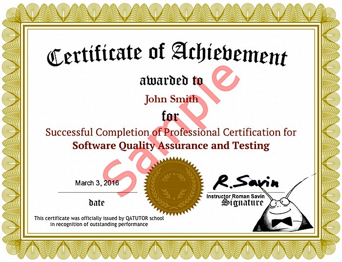 Software Testing QA Certificate